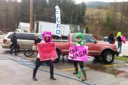 Members of the Kootenay Kannibelles were out washing cars to raise funds for this weekend&#039;s tournament in Spokane.  Submitted photo